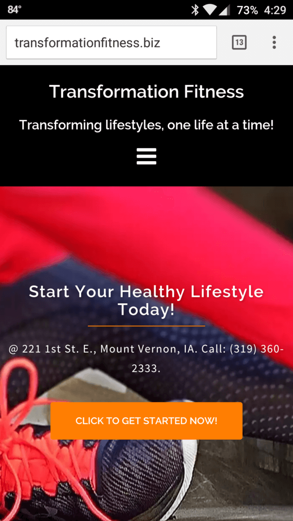 Transformation Fitness website's mobile screenshot